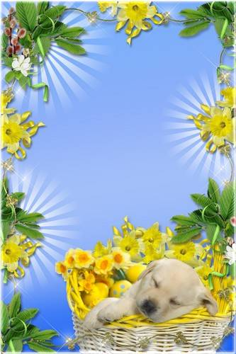 Set a festive frame for Photoshop - Sunny Easter Day
