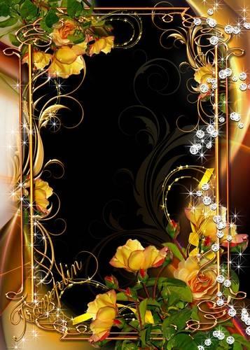 2 golden frames for Photoshop - an Evening brilliant tender-tender asterisk peers into window