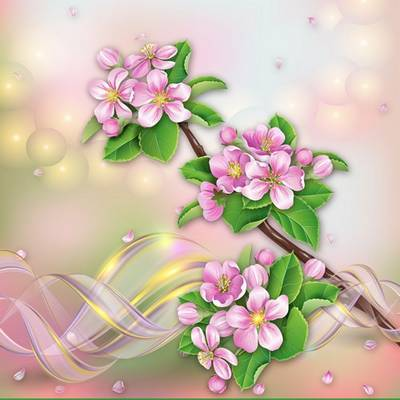 Download floral multilayer PSD background with branch of Apple blossoms
