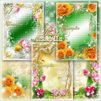 Collection of floral frames for photo with roses - Fragrance flowers