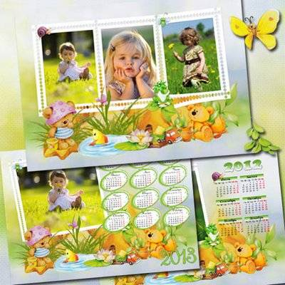 A collection of photo frames and two calendars - Funny Bears