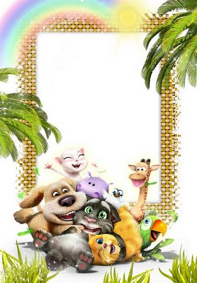 PNG + PSD Photo Frame template for baby photo with painted animals, cats, dog, hippo, parrot and giraffe