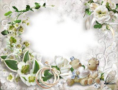 Wedding frame for photo with orchids and roses - Together Forever