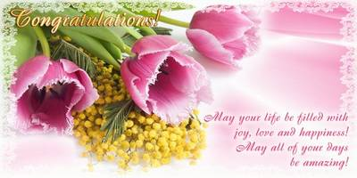 Set Photoshop postcards 8 PSD files with beautiful flowers - Congratulations! (English, Russian, Ukrainian languages)
