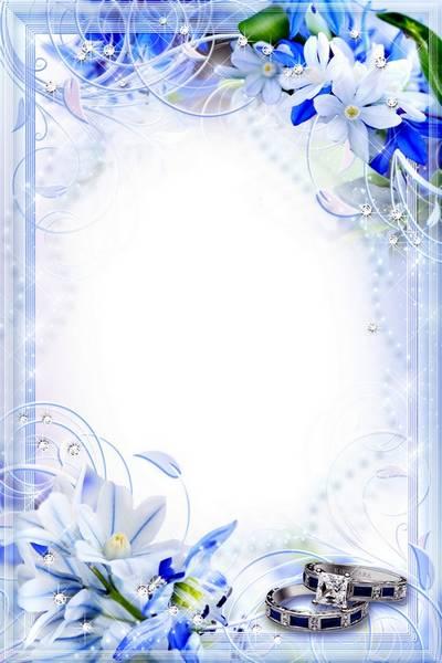Wedding Flower Frame - White and Blue, Innocense and Tenderness