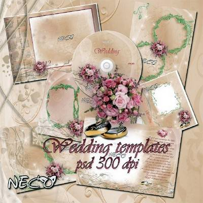 Set of wedding templates - The Pink pearl