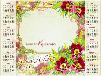 2016 Photoshop calendar psd Happy Holiday! you can insert photo (any picture), English, Spanish, Russian languages (the choice)