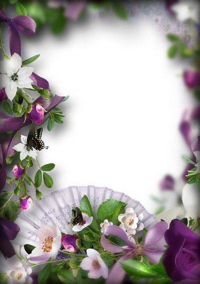 Free Set photo frames PNG format with beautiful flowers - 7 PNG Frames