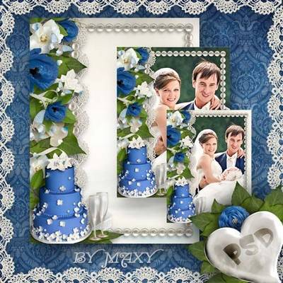 Wedding Frame - Blue-white wedding