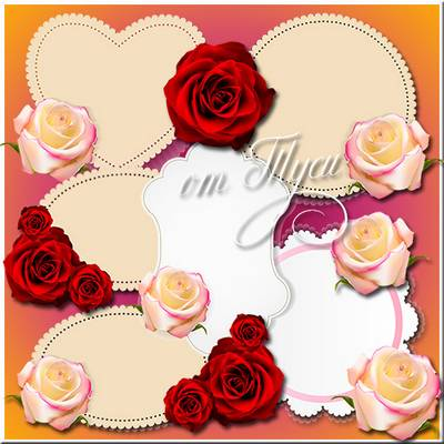 labels - layered psd, labels with roses, heart-shaped, oval, different with flowers and without