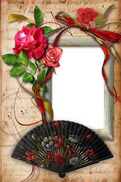 Vintage Frame with Roses and Fan - Remember Me