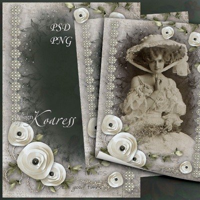 Vintage romantic photoframe for Photoshop - Old photo