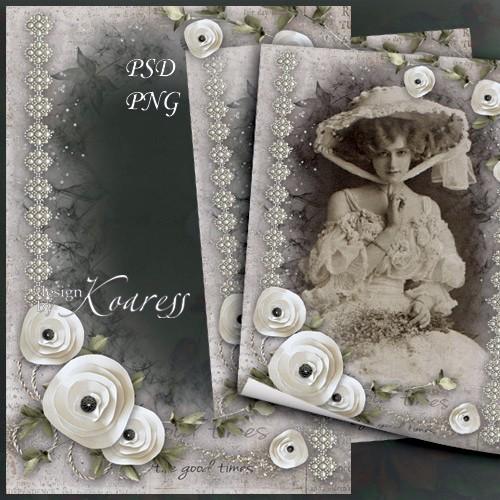 Vintage romantic photoframe for Photoshop - Old photo