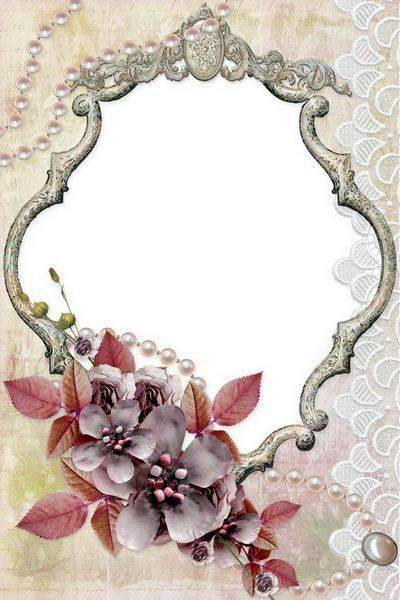 Vintage Fotoframe - Flowers, Pearl Necklace and Lace