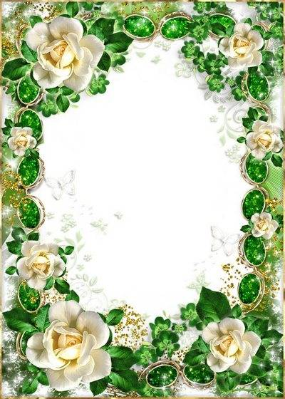 Emerald Frame  with roses - Your eyes, as two priceless emeralds