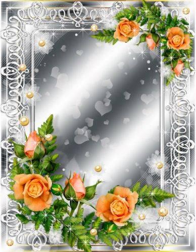 Set of flower frames-In delicate violet tones