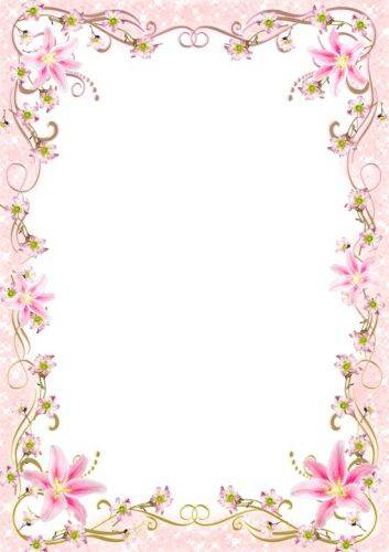 Set of glamorous and romantic photoframes with pink flowers - In pink light