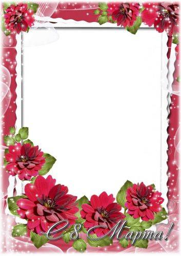 Set greeting png photo frame - 8 March, cute women