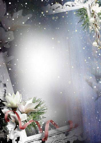 Winter Photoshop frame 4 PNG + PSD files - January snowstorm, PSD (multilayer, separate) + 4 PNG frames, 2480x3508 px, A4, 300 dpi, rar 192 mb