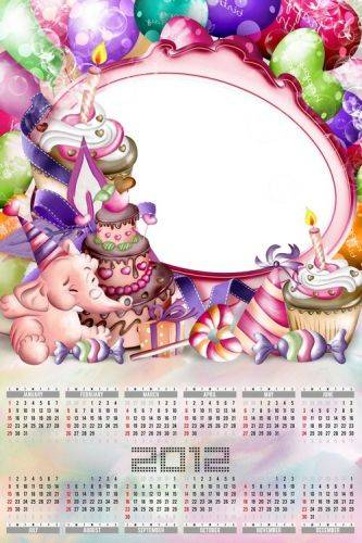 Calendar frame for photo - Birthday only once a year!