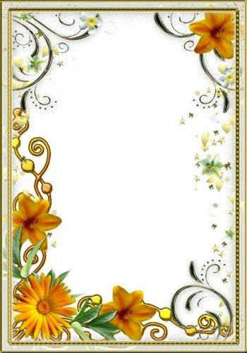 Women's frame for photo - Yellow flowers with golden curls