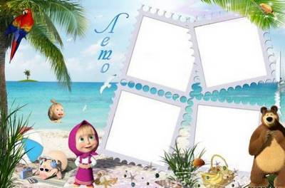 A set of children's frames with Masha and the Bear - This is the summer