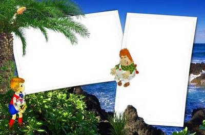 Set of frames for photoshop – the Kid and Carlson to sea