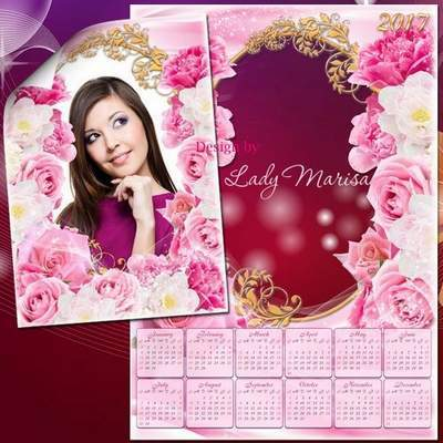 Set: PSD Calendar 2016, 2017, you can insert photos, pink style with pink roses + frame psd, Download