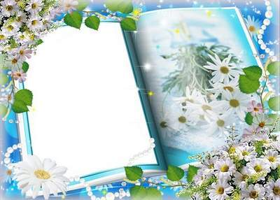 Frame for photoshop - Book with daisies