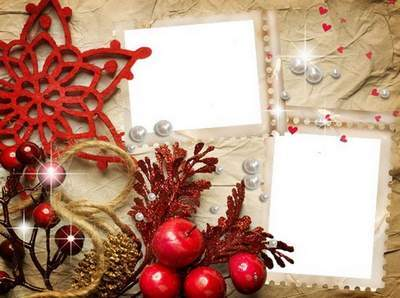 Free Set of 4 png frames for pictures - Winter in vintage style