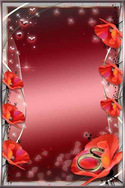 Romantic frame for photo with roses and poppies - Love is...