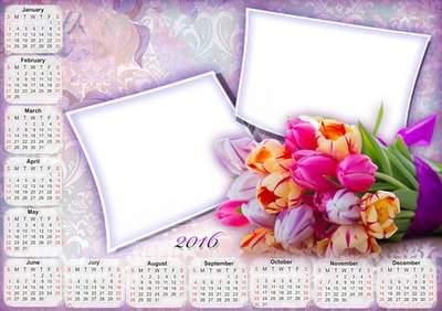 2016 Greeting calendar PNG + PSD