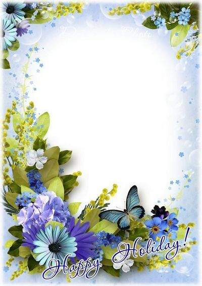 Beautiful bouquet March 8 - Festive frame PSD template