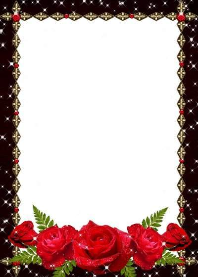 Photo frame - Red roses and stars shine