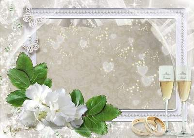 Gentle Wedding Photoframe - White Flowers, Rings and Champagne Glasses