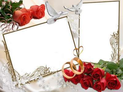 Wedding Frame for Photo - Heart of wedded love under the auspices of heaven
