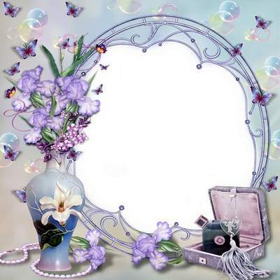 Free flower frame psd file for female photos - Bouquet of irises