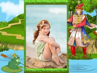 Children frame psd template– the frog Princess