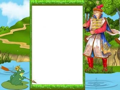 Children frame psd template– the frog Princess
