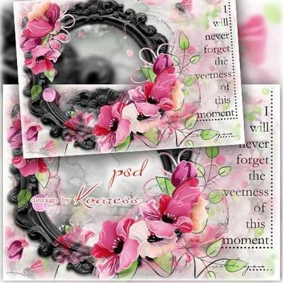 Romantic Photoshop frame psd template with painted flowers