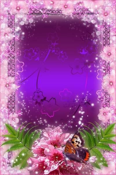 Flower frame for photo - cherry blossom