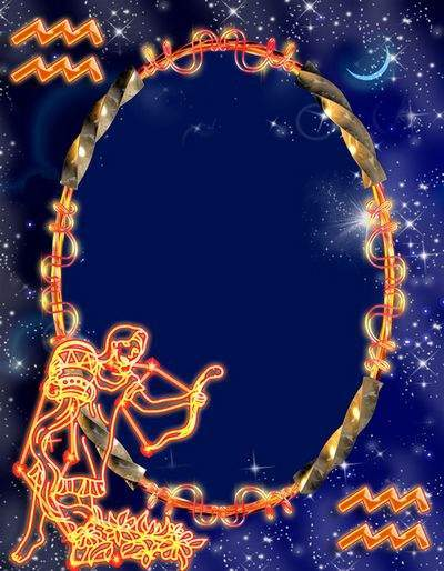 Frame for photoshop - Zodiac signs. Aquarius