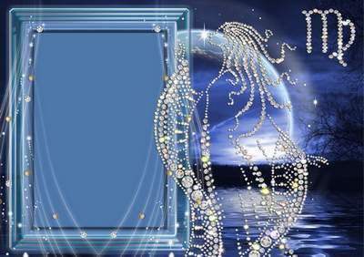 Frame for photoshop - Crystal zodiac signs. The Virgin