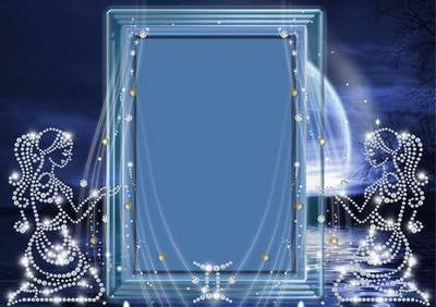 Frame for photoshop - Crystal zodiac signs. Twins
