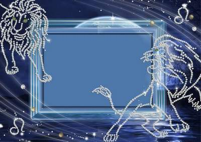 Frame for photoshop - Crystal zodiac signs. A lion