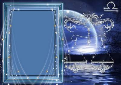 Frame for photoshop - Crystal zodiac signs. Scales