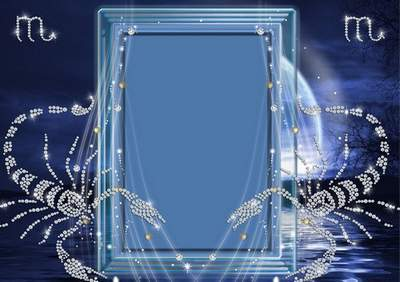 Frame for photoshop - Crystal zodiac signs. A scorpion