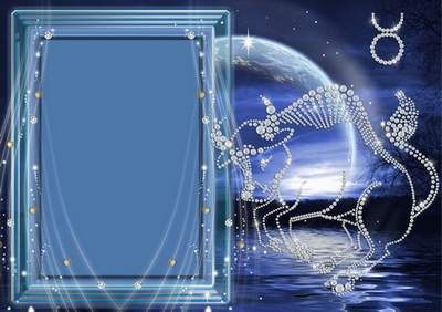 Frame for photoshop - Crystal zodiac signs. A Taurus