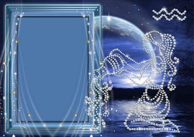 Frame for photoshop - Crystal zodiac signs. Aquarius