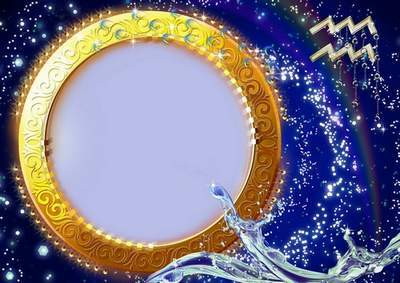 Frame for photoshop - Charming zodiac signs. Aquarius